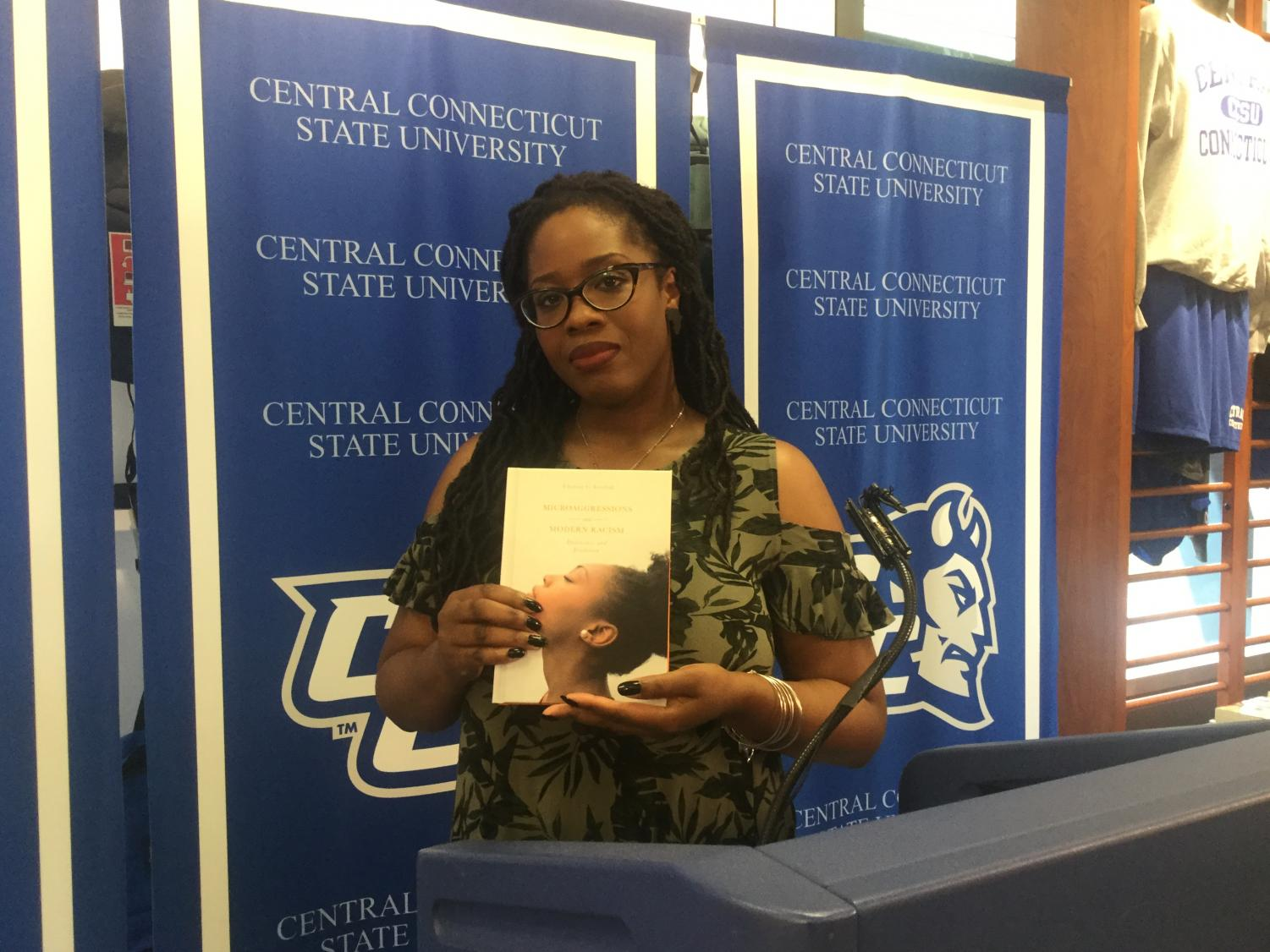 "Charisse Levchak, an assistant sociology professor, showcased her new book, ""Microaggressions and Modern Racism: Endurance and Evolution,"" at the Central Authors event in the CCSU bookstore."