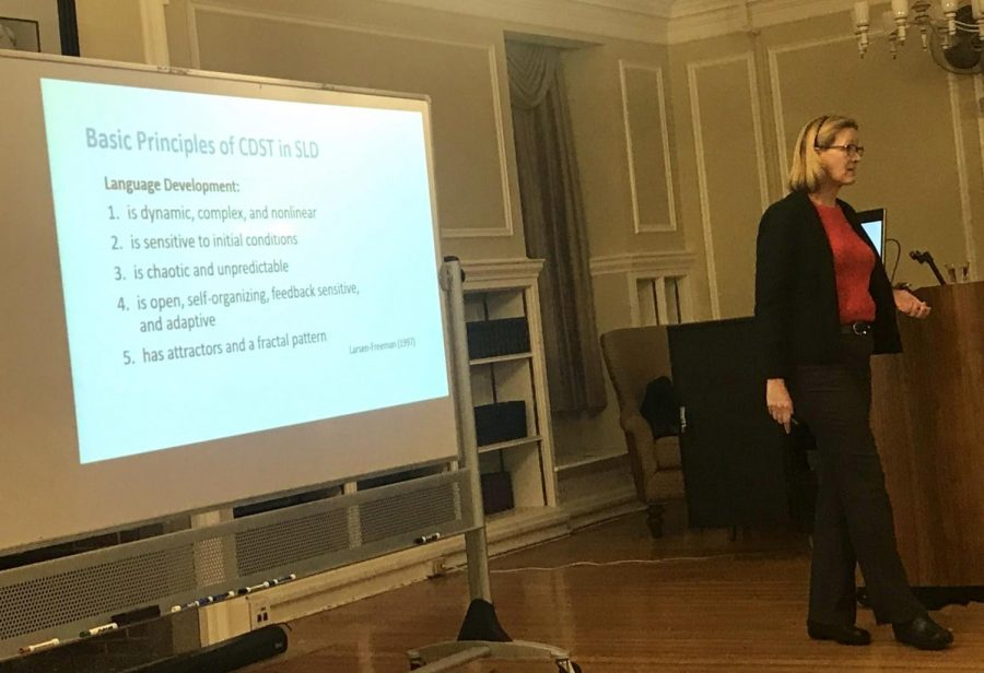 Dr. Elizabeth Hepford spoke last Tuesday night about her second language acquisition research.