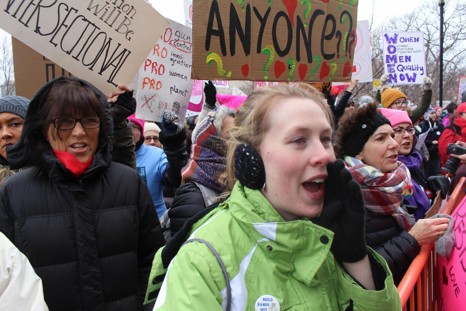 Danielle+Brochu+of+East+Hartford+chants+along+at+the+Women%27s+March+in+Hartford+last+Saturday.+