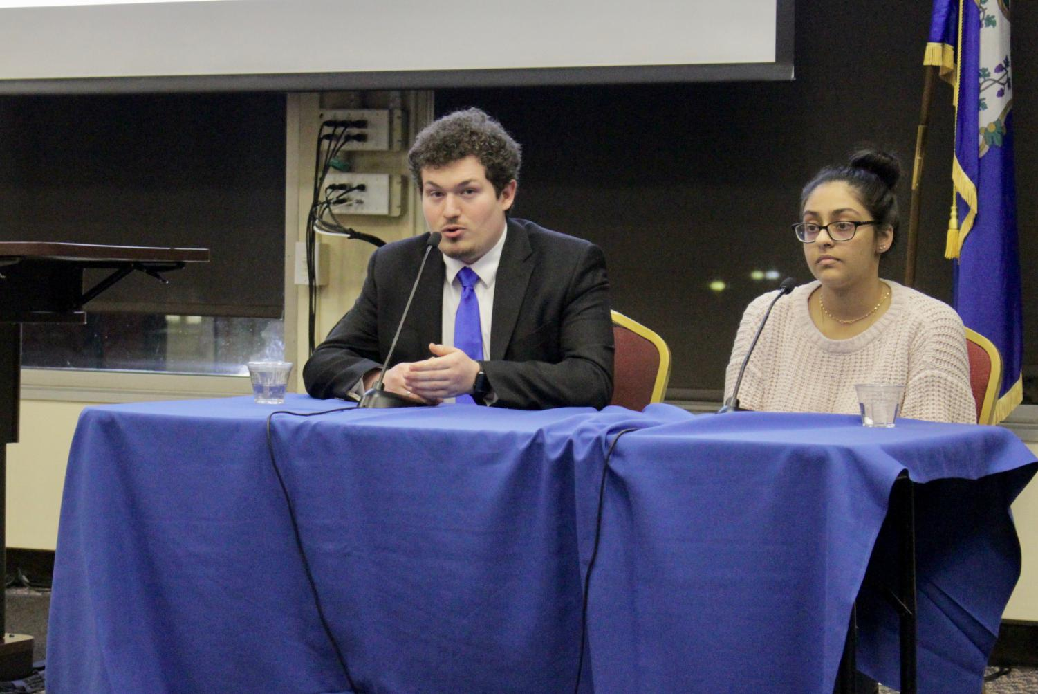 SGA presidential candidates Vice President Dante Solano, left, and Senator Roshanay Tahir, right, vouched for their campaigns at Monday's SGA debate.