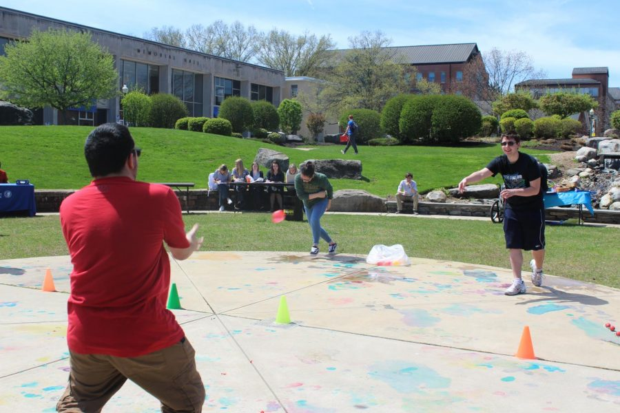 With a partner, students were able to participate in a balloon toss in hopes to win a ticket.