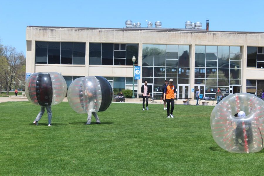 On vance lawn, students could participate in bubble soccer, with the object to knock down your opponent.