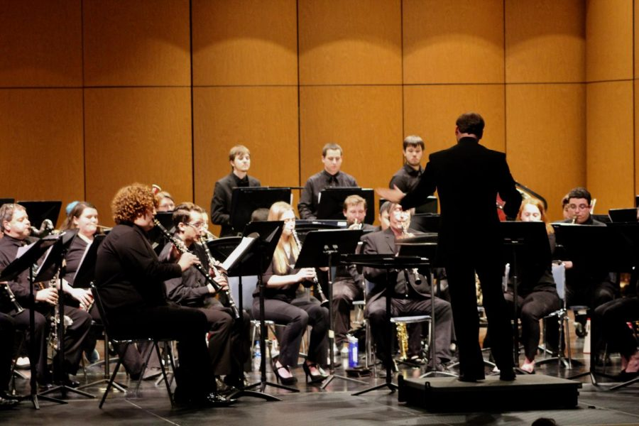 Dr. Schwartz leads the CCSU Wind Ensemble during their opening number,