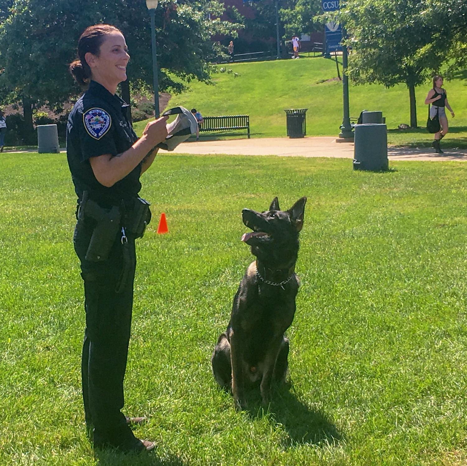 K-9+Diezel+and+his+human+partner+Middletown+Officer+Aura+Smith+came+to+CCSU+last+Tuesday+as+part+of+a+demonstration.