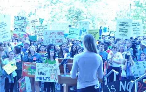 Sena Water led the rally on Climate Change in front of hundreds upon the Capital Building steps.
