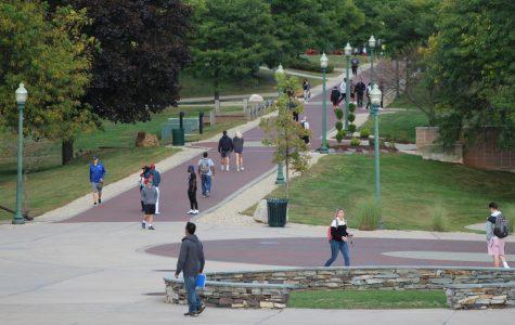 CCSU students walking around campus