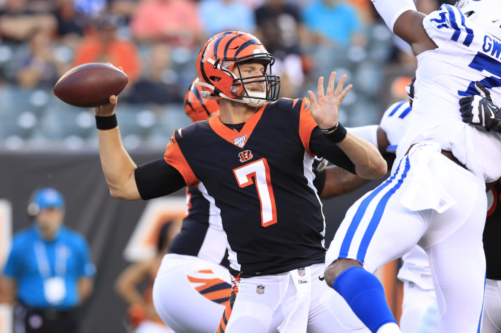 Former Central Connecticut Jake Dolegala, now of the Cincinnati Bengals throws a pass against the Indianapolis Colts.