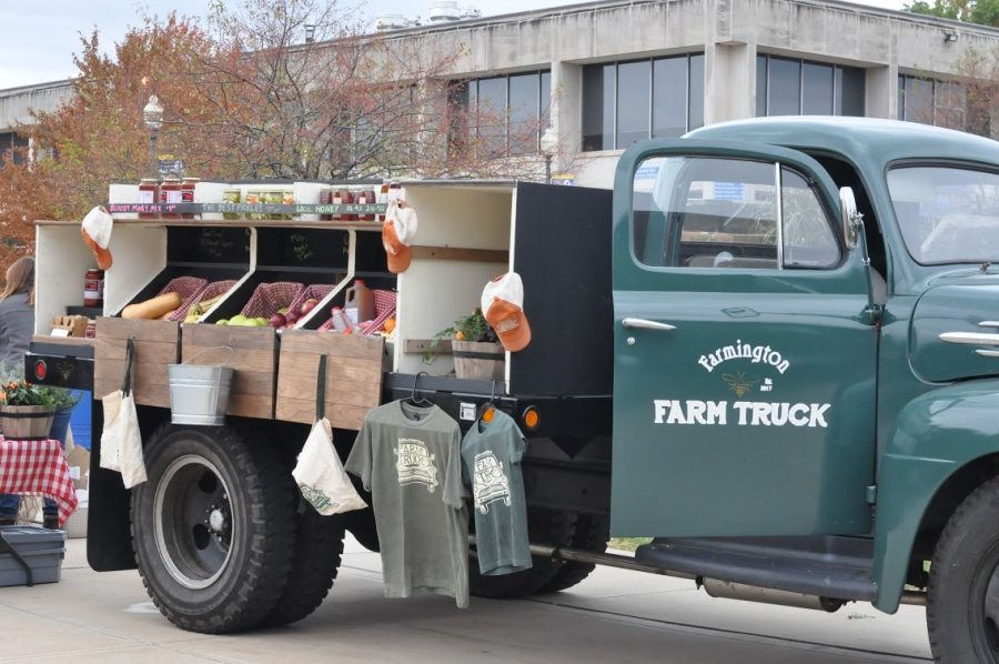 The Farmington Farm Truck called Violet Mae was parked outside the Student Center.