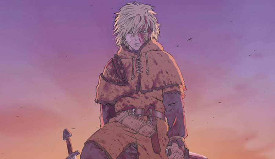 This drawing of Thorfinn looks really cool until you realize he holds his knife in a fanny pack.