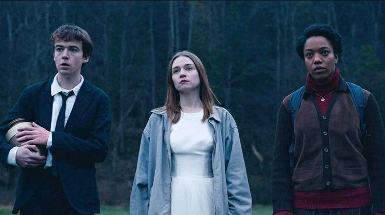 From left to right: James (Alex Lawther), Alyssa (Jessica Barden) and Bonnie (Naomi Ackle) of Netflix's
