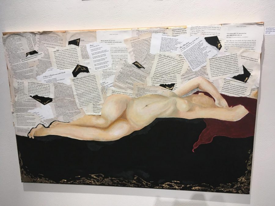 Jenna Raymonds piece entitled The Despair Society was made with acrylic paint, book pages and gold leaf.