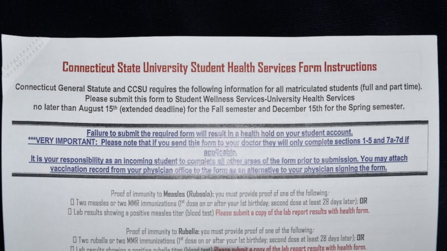 Required Connecticut State University Student Health Services Form
