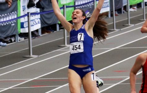Sophomore Angie Rafter set a new school record in the 3,000-meter run with a time of 9:57.67.