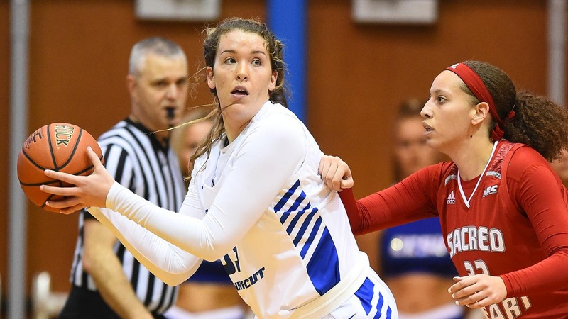 Ashley Berube (pictured above) led all CCSU scorers with 16 points against Wagner on 80 percent shooting from the field.