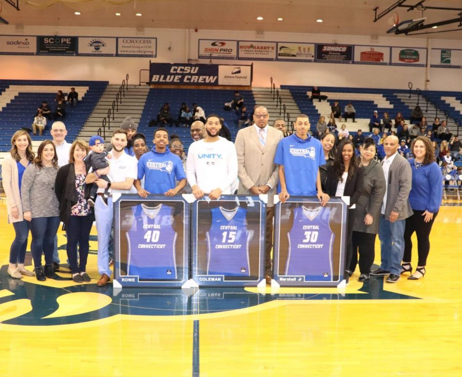Central honored its three seniors before the game with Tyler Rowe (Left) and Jamir Coleman (Middle) posted career high points.