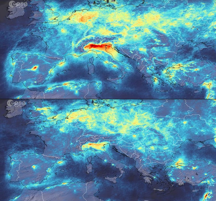 ESA's Copernicus Sentinel-5P satellite shows the decrease of NO2 levels across Europe from Jan. 1 to March 11, 2020.