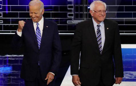 Former Vice President Joe Biden and Sen. Bernie Sanders at the Democratic presidential debate in Miami, Florida, on June 27, 2019. Drew Angerer/Getty Images