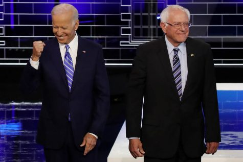 Former Vice President Joe Biden and Sen. Bernie Sanders at the Democratic presidential debate in Miami, Florida, on June 27, 2019. Drew Angerer/Getty Images