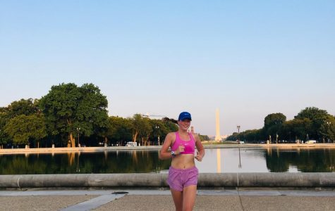 Megan Brawner when she was training and living in Washington D.C and where she will be living after August.