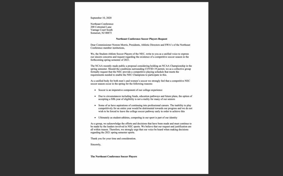 NEC Soccer Pens Letter To NEC Commissioner