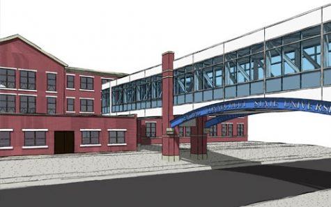 Sketch of the pedestrian bridge from the Willard and DiLoreto parking garage to the Willard-DiLoreto building