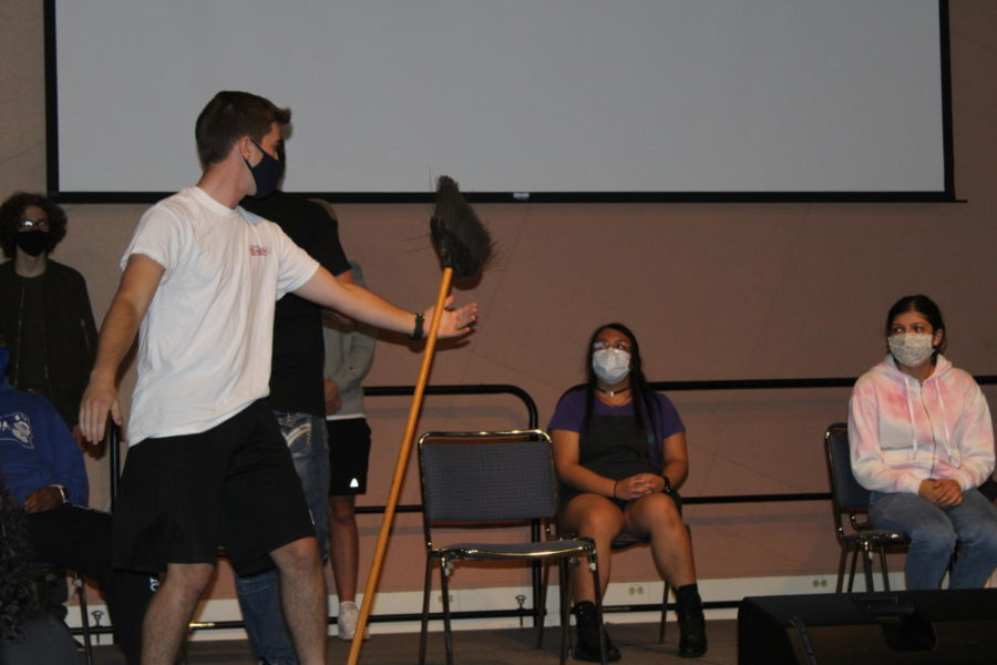 A student is under the impression that a broom is the most beautiful creature hes ever seen in his life.